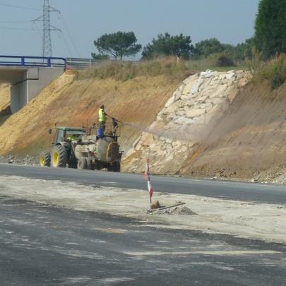 Hidrosiembra de talud de autopista